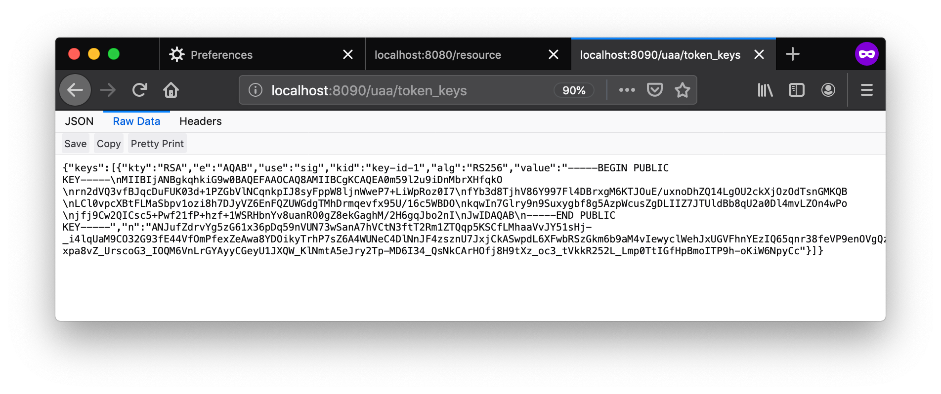An example of the token keys endpoint data showing a JSON object containing public keys